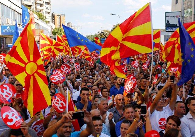 Manifestación proeuropea en Macedonia