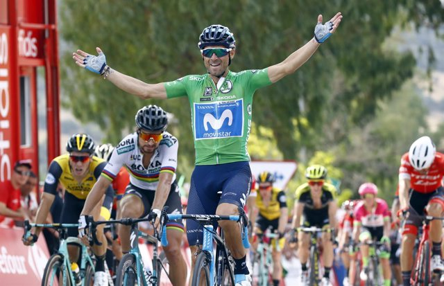 Alejandro Valverde (Movistar Team), tras ganar la octava etapa de La Vuelta 2018