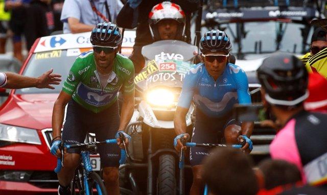 Nairo Quintana, junto a Alejandro Valverde