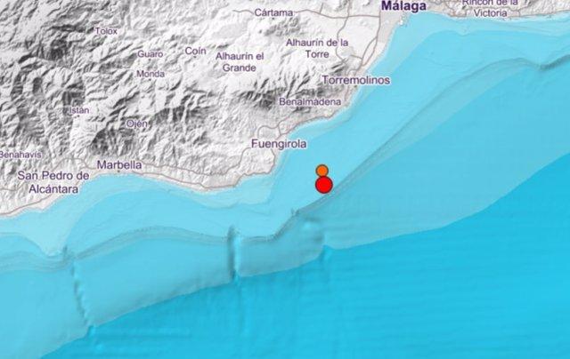 Epicentro de dos terremotos en Fuengirola (Málaga)