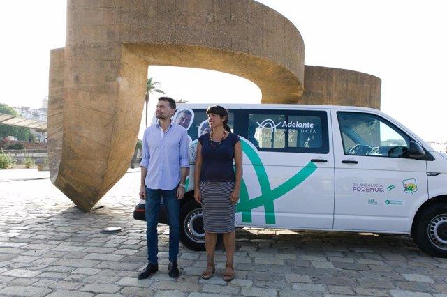 Antonio Maíllo y Teresa Rodríguez hacen una ruta  con 'Adelante Andalucía'