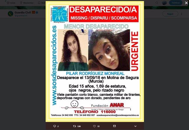 Imagen de la menor desaparecida en Molina de Segura