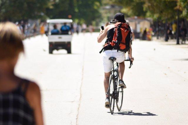 Ciclistas, bicicleta, calor, Madrid, deporte