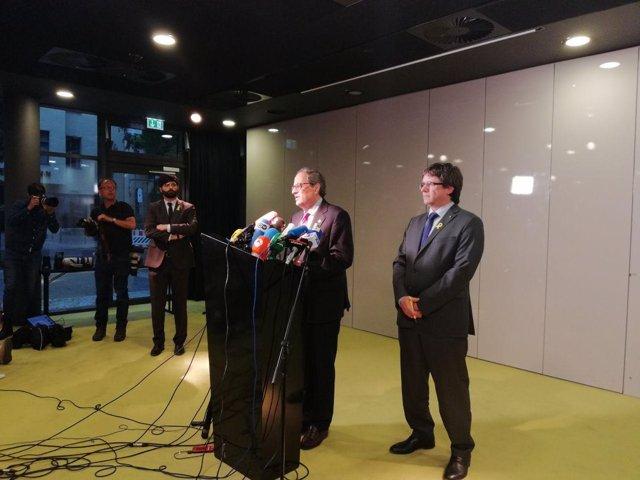 Quim Torra y Carles Puigdemont en Berlín en mayo (Archivo)