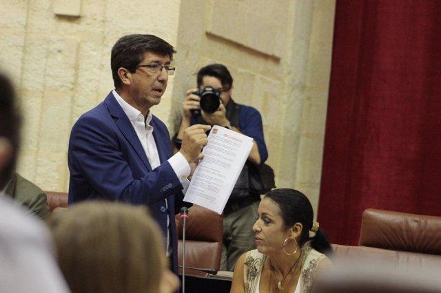 El líder andaluz de Cs, Juan Marín, en el Parlamento