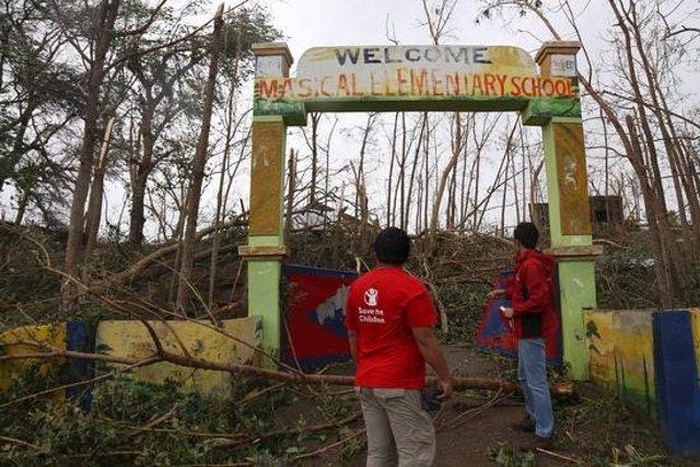 Una escuela arrasada por el tifón 'Mangkhut' en Filipinas