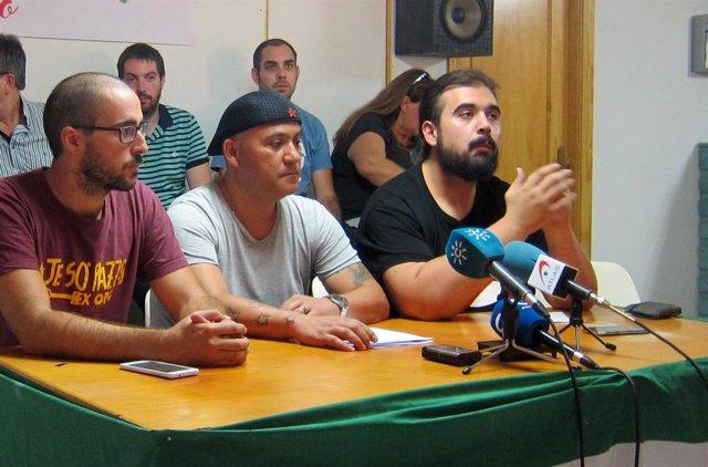 El portavoz nacional del SAT, Oscar Reina, en un acto en Jaén.
