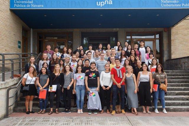 Parte de los estudiantes extranjeros de intercambio en la UPNA