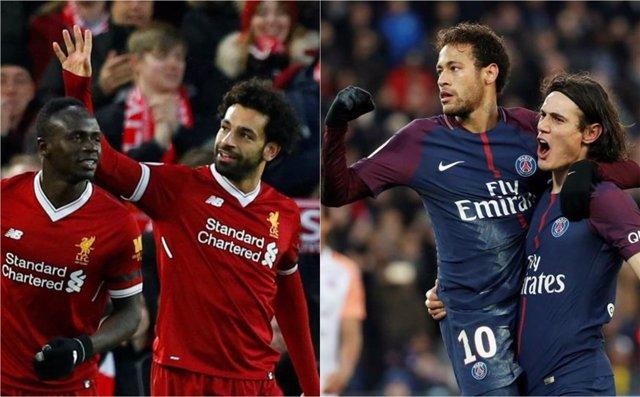 Liverpool Mané Salah PSG Paris Saint-Germain Neymar Cavani