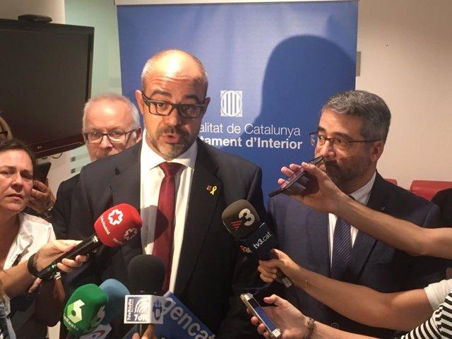 El conseller de Interior Miquel Buch y el dtor gral de Mossos Andreu Martinez