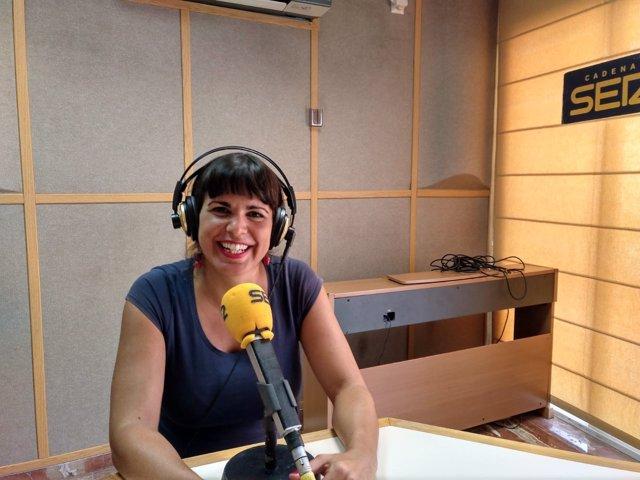 La líder Podemos Andalucía, Teresa Rodríguez, durante la entrevista