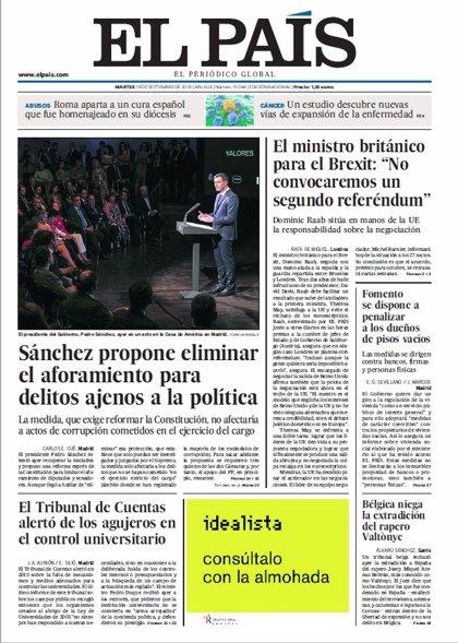 Las portadas de los periódicos del martes 18 de septiembre de 2018