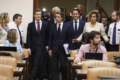 Casado, García Egea y Montserrat arropan a Aznar ante la comisión del Congreso que investiga 'la caja b' del PP