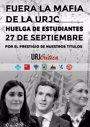 Estudiantes de la URJC convocan el 27 de septiembre una huelga para exigir la dimisión del rector por los