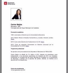 L'Ajuntament de Barcelona corregeix el currículum de Mejías (AYUNTAMIENTO BARCELONA)