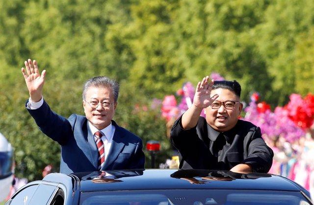 Moon Jae In y Kim Jong Un en Pyongyang