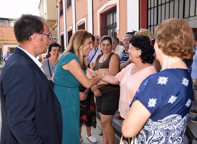 La presidenta de la Junta de Andalucía, Susana Díaz, en Isla Mayor.