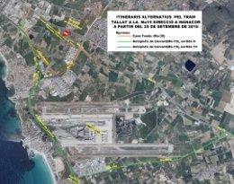 Rutas alternativas por el corte de la Ma-15 en sentido a Manacor