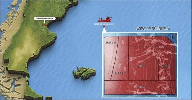 Mapa de las zonas de búsqueda del ARA San Juan