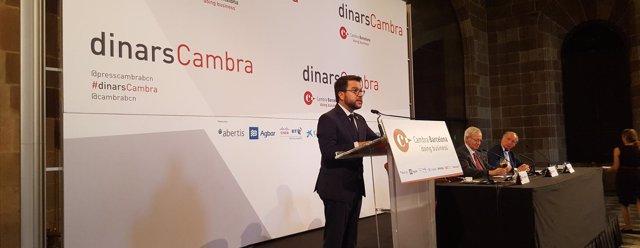 El vicepresidente Pere Aragonès en un acto de la Cámara de Barcelona