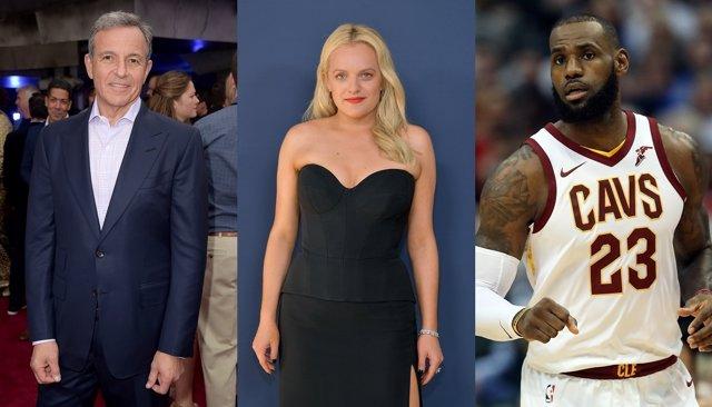 Bob Iger, Elizabeth Moss y LeBron James