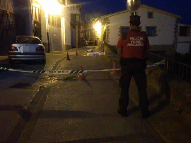 Un agente frente a la zona donde se ha producido un tiroteo en Cáseda (Navarra)