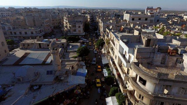 Una vista aérea de Idlib capturada con un drone