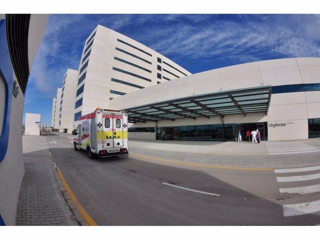 SAMU, ambulància, a les portes de l'Hospital La Fe