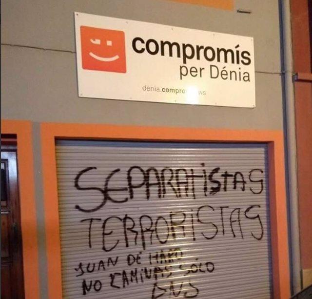 Pintada en la sede de Compromís de Dénia
