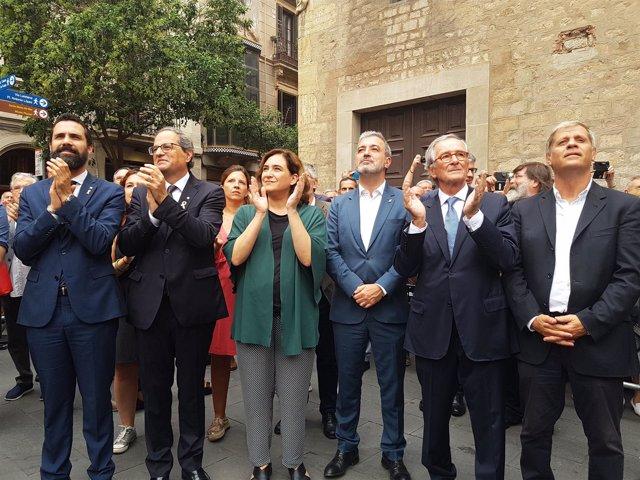 Roger Torrent, Quim Torra, Ada Colau, Jaume Collboni, Xavier Trias y Alberto Fer