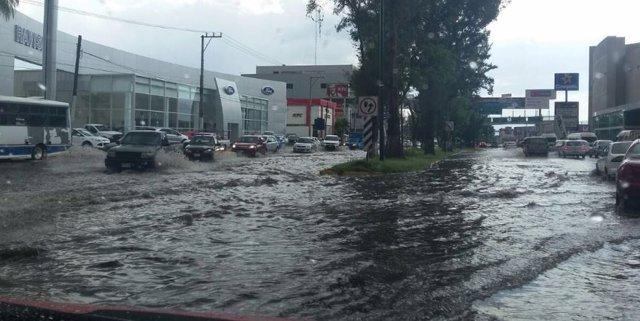 Calles inundadas en Michoacán