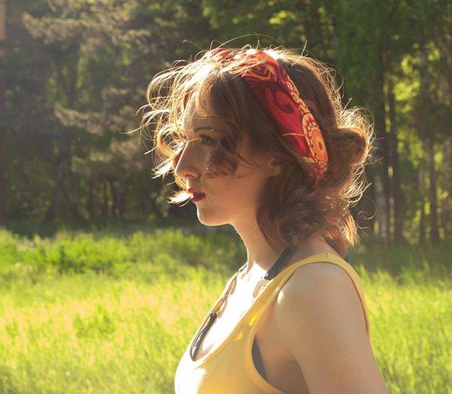 Chica, sol, verano, pelo