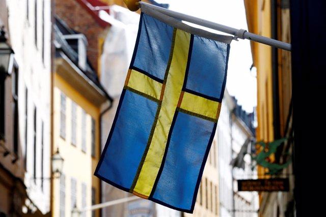 Bandera de Suecia en Estocolmo
