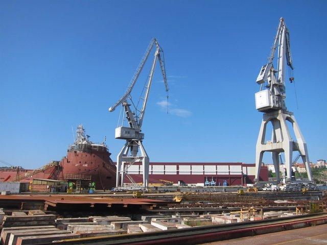 Foto de archivo de Astillero de La Naval, en Sestao