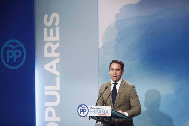 Rueda de prensa del secretario general del PP, Teodoro García, en la sede nacion