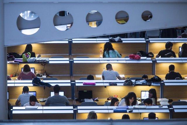Estudiantes de la UPNA en la biblioteca