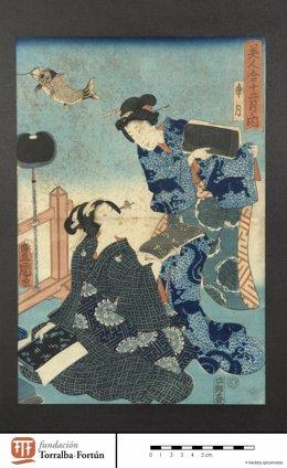 Estampa japonesa de los fondos del Museo de Zaragoza