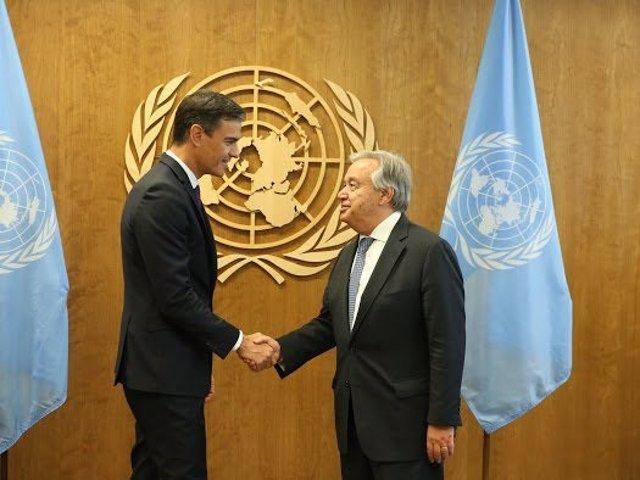 Pedro Sánchez con el secretario general de la ONU, António Guterres