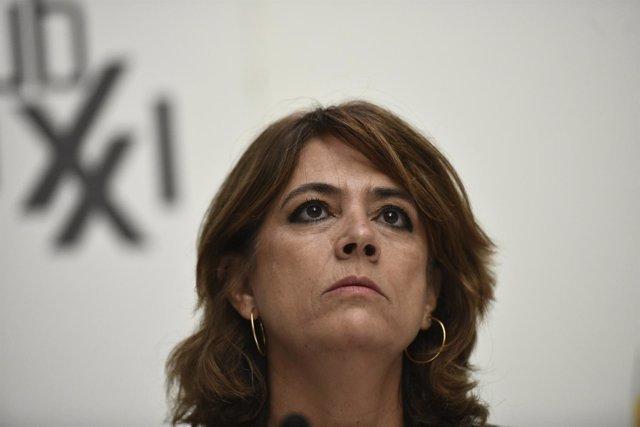 La ministra de Justicia, Dolores Delgado, interviene en el desayuno informativo