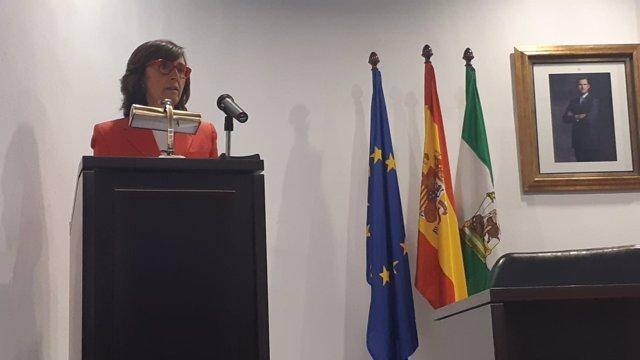 Rosa Aguilar, durante su conferencia en Córdoba