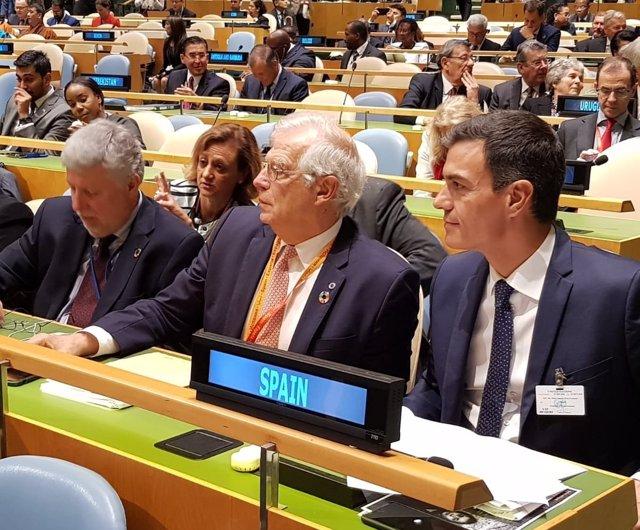 Pedro Sánchez y Josep Borrel en la Asamblea de la ONU