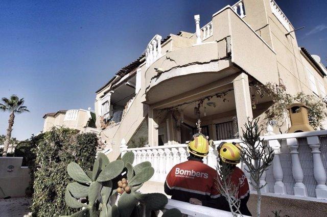 Los dos bungalós afectados por el derrumbe