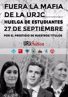 Cartel de la protesta convocada por los estudiantes de la URJC