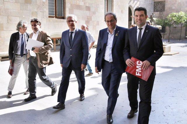Quim Torra, con Xavier Amor y José Fèlix Ballesteros