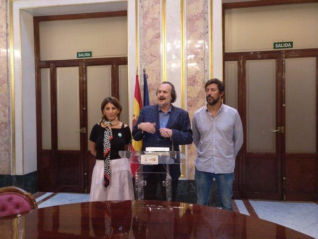 Rueda de prensa de los tres portavoces de En Marea