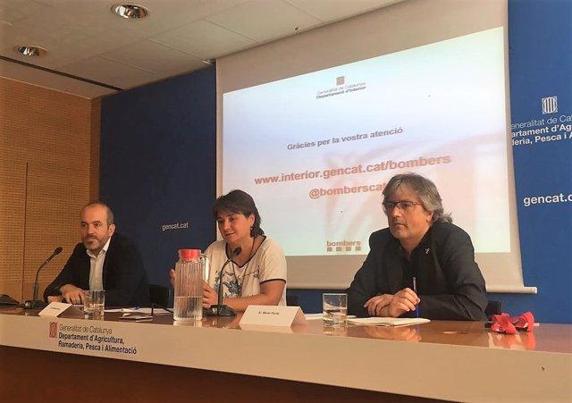 Marc Costa (Agents Rurals), Montse Barniol (Ecosistemas) y Manel Pardo (Bombers)