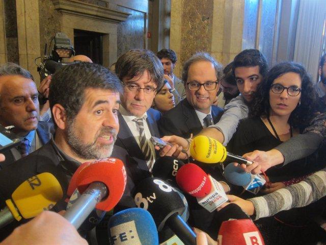 Jordi Sànchez, Carles Puigdemont, Quim Torra (Archivo)