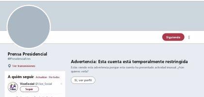 Twitter bloquea una cuenta del Gobierno de Venezuela durante un día