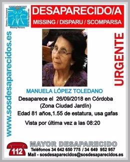 Buscan a un mujer de 81 años desaparecida
