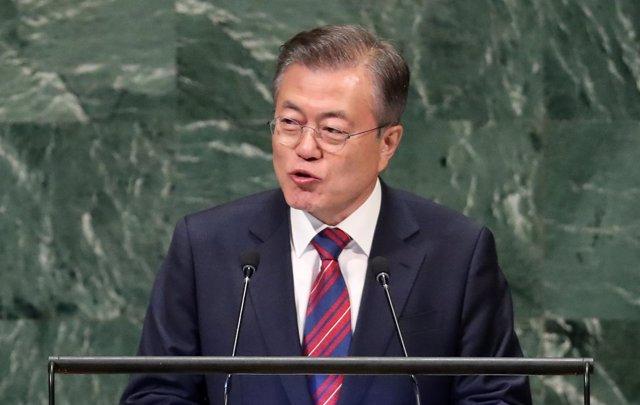 El presidente de Corea del Sur, Moon Jae In, ante la Asamblea General de la ONU